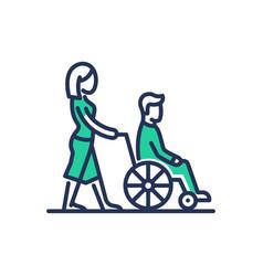 Disabled people help - modern line design vector