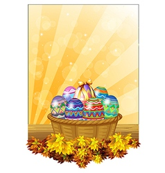 Easter eggs in a basket vector image vector image