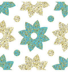 Flowers with glitter patter vector