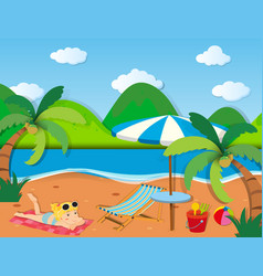 Girl sunbathing on the beach vector