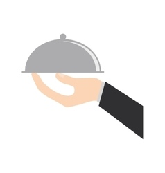 Hand holding tray catering food vector