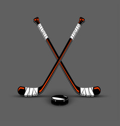 hockey sticks and puck vector image vector image