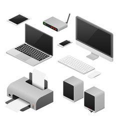 isometric 3d digital computers and supplies vector image vector image