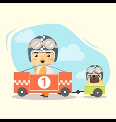 Little boy racer and friend vector image