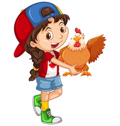 Little girl holding a chicken vector image vector image