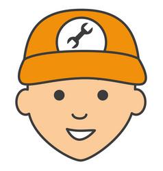 Mechanic head avatar character icon vector