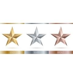 Realistic metallic 3 stars vector