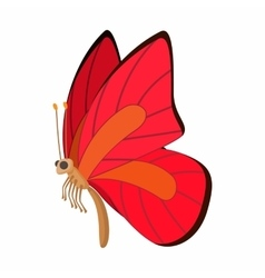 Red-orange butterfly icon cartoon style vector image vector image