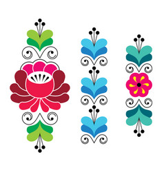 Russian folk art pattern - floral long stripes vector
