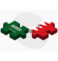 Saudi Arabia and Bahrain Flags vector image