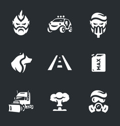 Set of post-apocalypse road icons vector