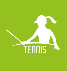 Sihouette woman play tennis with racket and vector