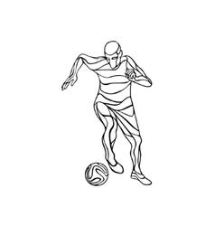 Soccer or football player kicks the ball line art vector