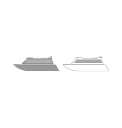 Transatlantic cruise liner grey set icon vector