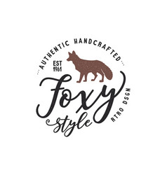 Vintage hand drawn wild animal label fox vector