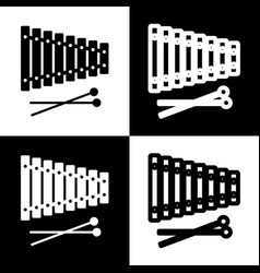 Xylophone sign black and white icons and vector