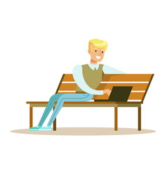 Young smiling man sitting on a wooden bench and vector