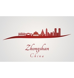 Zhongshan skyline in red vector image
