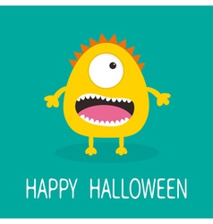 Happy halloween greeting card yellow monster with vector