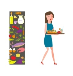 Slender girl with healthy food vector