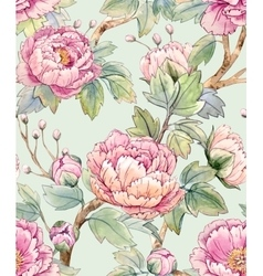 Watercolor floral chinese pattern vector
