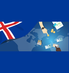 Iceland economy fiscal money trade concept vector