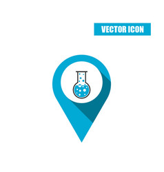 Boiling chemistry flask and test tube icon vector
