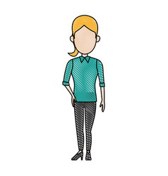 Character woman business standing employee draw vector