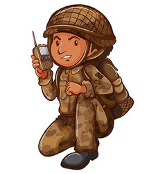 A soldier with a communication tool vector