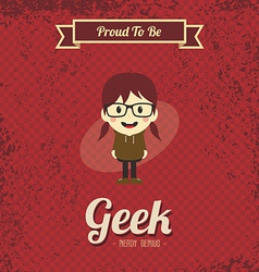 Genius geek retro cartoon vector