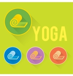 Yoga or fitness flat logo with mat vector