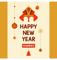 Flyer with a mask of red fire monkey year 2016 vector