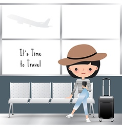 Travelling woman cartoon at the airport vector