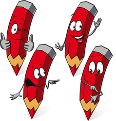 Red pencil - funny cartoon vector