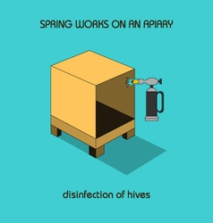 Disinfection of hives spring work vector