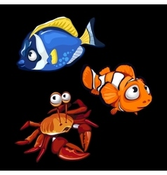 Clownfish blue fish and crab marine characters vector