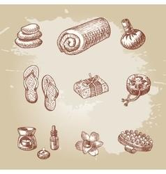 Hand drawn spa and thai massage element set vector