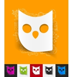 Owl paper sticker with hand drawn elements vector