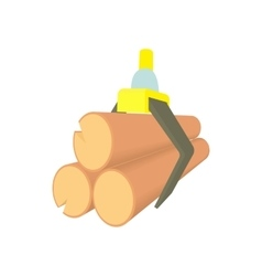 Tied logs icon in cartoon style vector