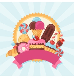 Background with colorful candy sweets and cakes vector