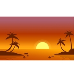 Beach at sunrise scenery of silhouette vector
