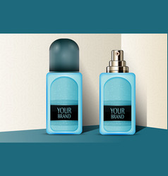 Blue plastic perfume bottles vector