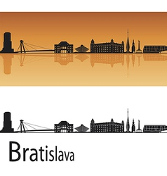Bratislava skyline in orange background vector image