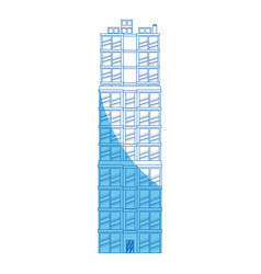 Building real estate apartment blue line vector