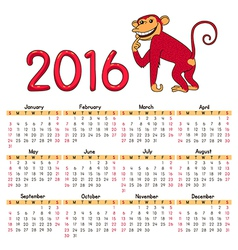 Calendar red monkey vector