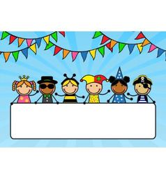 Cartoon children in carnival costumes hold a poste vector image