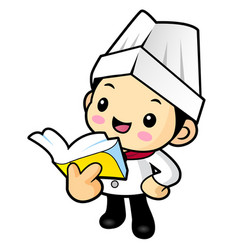 Cartoon cook character reading a book isolated on vector