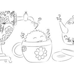Cartoon monster drying tea cup samovar teapot vector