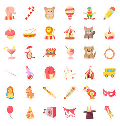 Children carnival icons set cartoon style vector