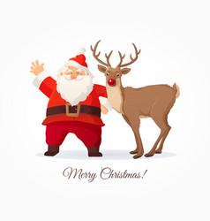 christmas card funny cartoon santa claus and vector image